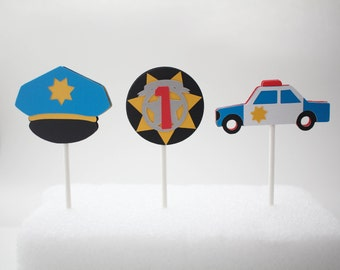 Police Cupcake Toppers, Cop Cupcake Toppers, Police Birthday Party, Cop Birthday Party