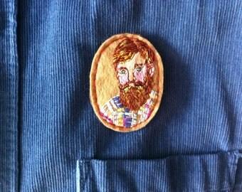 "Embroidered ""Bearded Man"" felt brooch hand made"