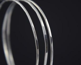 Silver Bangle - Stacking bangles - Silver Hammered Bracelets - Stacking Bracelet - UK Handmade