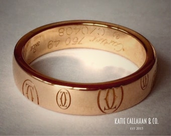 SOLD * Vintage Cartier 18kt Yellow Gold Band Ring with Logo