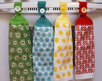 Pioneer Woman handmade hanging kitchen towel with hand crocheted top/Pioneer Woman Flea Market/crochet top towel/hanging kitchen towel