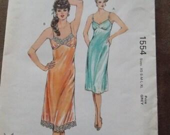 sale Sewing pattern Kwik Sew 1554 Misses' nightgown new uncut size XS to XL