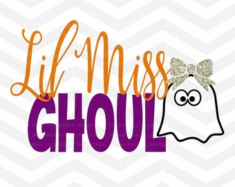 Ghost SVG File, Halloween File, Little Miss Ghost, Ghoul, Trick Or Treat, Halloween Cut File, Cricut, Silhouette, Trick or Treat File, Girl