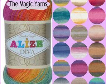 Alize Diva batik- silk effect,, Microfiber acrylic yarn,light weight,sport,4 ply, batik colors,self stripping yarn,