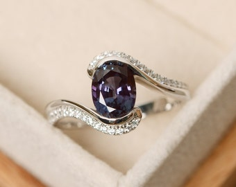 alexandrite ring oval gemstone ring alexandrite engagement ring - Alexandrite Wedding Ring