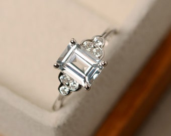White topaz ring, promise ring, silver