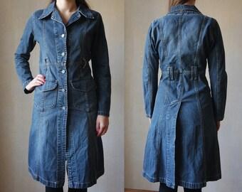 Denim trench coat | Etsy