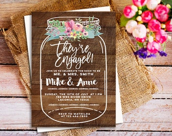 Mason jar Engagement Invitation Printable, wood Engagement Invitation, couples shower Rustic Engagement party Invitation, rustic wood floral