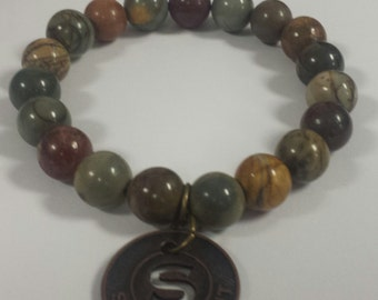 10mm picasso jasper beaded stretch bracelet,gemstone bracelet,stretch bracelet