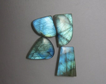 Natural Labradorite cabochon Fancy shape 4 piece lot loose semi precious gemstone cabochon size 14 x 16 to 12 x 18 mm approx code 4893