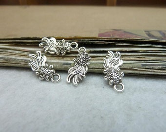BULK 50 Small Fish Charms Antique Silver Tone 2 Sided so ccute