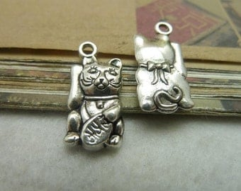 20 Lucky Cat Charms Antique Silver Tone Too Cute 3D - WS3513