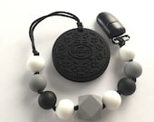 Oreo Cookie Teething Toy / Sensory Toy With Clip / Teething Toy / Chew Beads / Toy Strap / Toy Tether / Baby Toy / Pacifier Clip / Soother