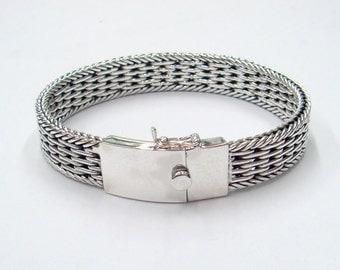watchband silver woven bracelet
