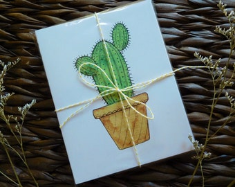 Single Cactus Card | Blank inside any occasion watercolor greeting card