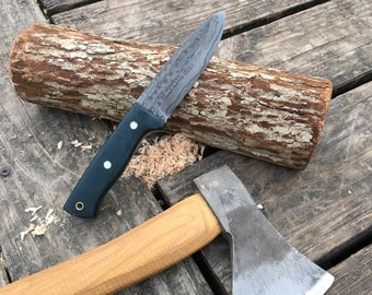 Handforged Damascus Hunting knife w/ custom leather sheath