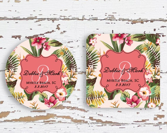 Personalized wedding favors, Set of 12, Pink Wedding shower gift, Custom beverage coaster, Spring Wedding favor, Floral bridal favors (1639)