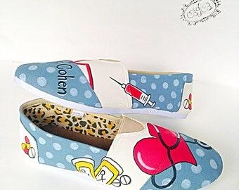 Doctor/nurse custom canvas shoes - Toddler/kids/adult - gift for doctor - nurse shoes - registered nurse gift - gift for a nurse - rn shoes