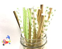 Assorted St Patrick's Day Paper Straws, St Patrick's Day, St Patrick's Day Party, Shamrock Straws, Pot of Gold, Pot of Gold Theme, 25