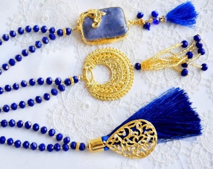 muslim navy blue doa beads tesbeeh necklace, spiritually umrah gift ,prayer tespih,ottman design, muslim pray, quran, arabic, calligraphy