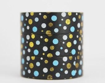 Washi tape foil tape dots Gold light Blue