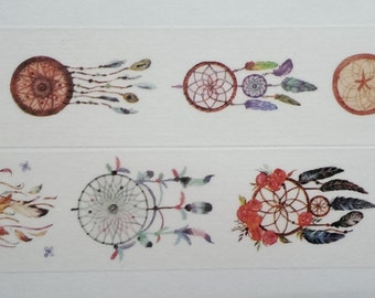 Design Washi tape dream catcher feathers flowers