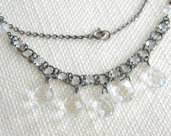 vintage Crystal Glass drops beads necklace ~ lovely ~ faceted - inA1151