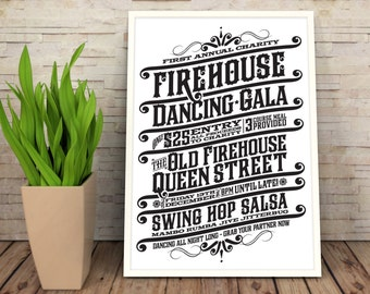 Firehouse Dancing Gala: Vintage style typographic print poster