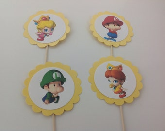 12 Baby Mario Brothers cupcake toppers, or Baby Luigi