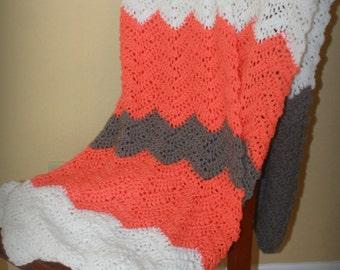 Pink and Gray Throw// Crochet Cheveron Stripe blanket//Soft kids blanket