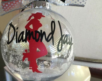 Cowboy Christmas Ornament, Cowgirl Christmas Ornament, Country Western Personalized Christmas gift name and year, Country Western Flair gift