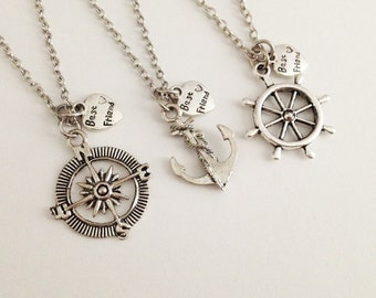 set of 3 BFF necklace - best friend necklace - anchor - rudder - compass - friendship necklace - gift