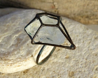 Quartz crystal cage ring | cage ring| copper ring | raw crystal ring | rough stone ring