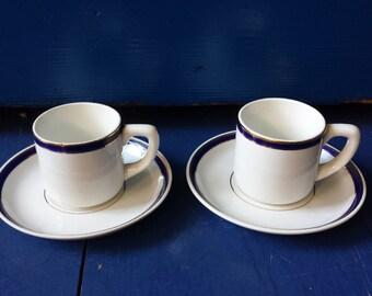 Société Céramique Maestricht, Netherlands: 3 classy cobalt espresso cups, demi-tasse, from the 1960s