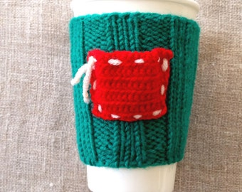Christmas gift, Crochet green red cup cozy, coffee cup cozy, mug cozy, cup cozy, coffee cup sleeve, gift ideas