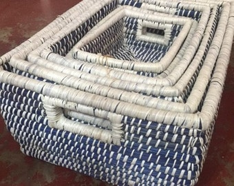 Blue and White grass storage set of 6