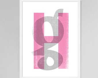 Initial Over Print Personalized Baby/Kids Art (Pink, Large)