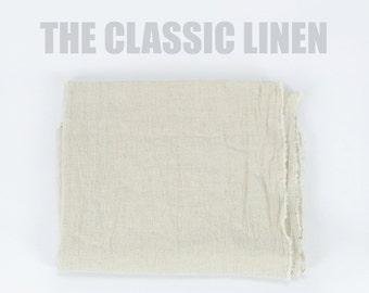 100% Organic Linen Fabric - The Classic Natural Linen Blend, Plain Linen, Soft Linen Textile -  Natural Plain Cream Flat Linen Cotton Yard