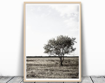 Minimalist Art, Tree Photography, Lone Tree art print, french country, country print, Modern Minimalist, Landscape Art, Nature Photography