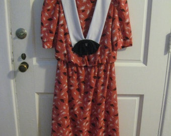 1980's Polyester Dress with Bow
