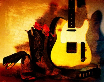 Guitar Art Print, Country in My Heart, Music Poster, Electric Guitar