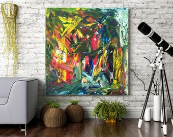 """24x24"""" Abstract Painting, Ready to Hang, Original Modern Art Titled """"Abstract Jungle"""""""