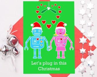 Robot Christmas Card, Wife Christmas Card, Romantic Christmas Card, Funny Gay Card, Lesbian Card, Girlfriend Christmas Card, Gay Couple Card