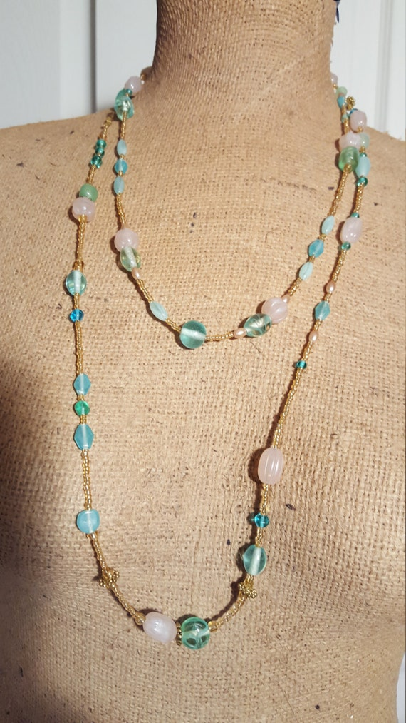 free shipping gold toned necklace with pink coral and blue jade beads