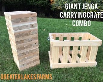 Giant Tower (large) / Carrying Crate Combo (wedding guest book, yard game)