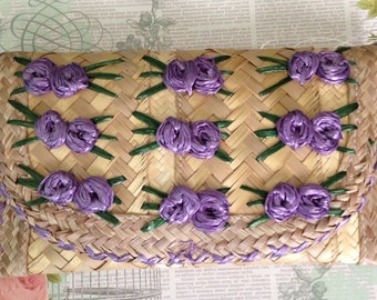 Vintage Purple Flower Straw Clutch Purse