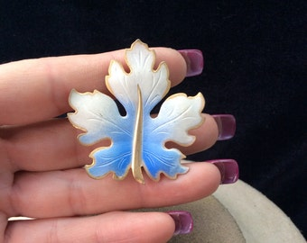 Vintage White & Blue Enameled Leaf Pin