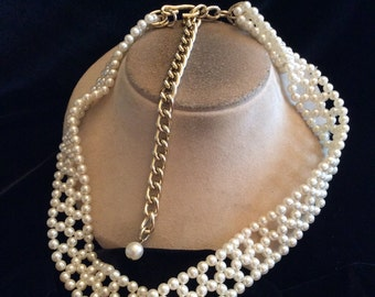 Vintage Long Chunky Faux Pearl Beaded Necklace/Belt