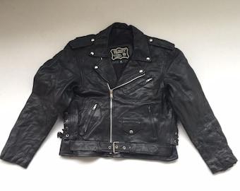 Vintage 90's Men's Black Leather Biker Jacket