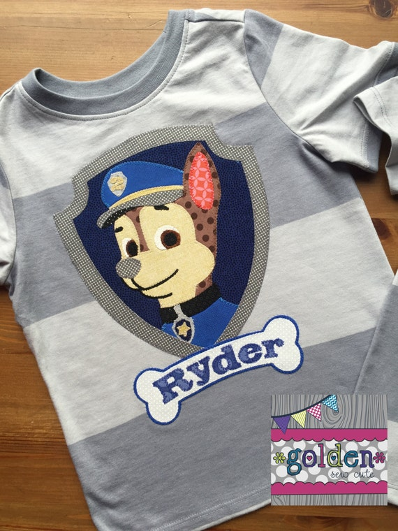 Paw Patrol Inspired Chase Name and Bone Birthday Name and Number, Age Tee, Shirt